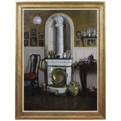 """Framed Oil on Canvas """"Le Cheminee Blanche"""" by Francis Quarles Thomason"""