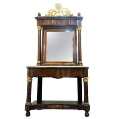 Spanish Empire Console Table with Mirror in Mahogany, circa 1810