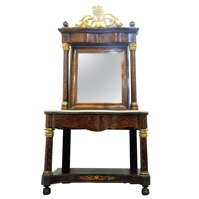 Spanish Empire Console Table with Mirror in Mahogany, circa 1810