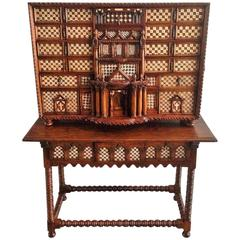 Original 17th Century Spanish Bargueno, Cabinet on Stand, Vargueño