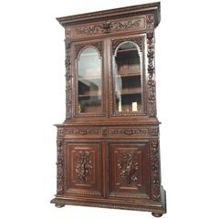 Flemish Buffet a Deux Corps in Carved Oak, circa 1850