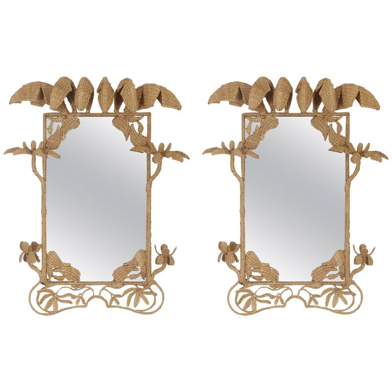 Pair of Mario Torres Mirrors with a Tropical Palm Motif For Sale