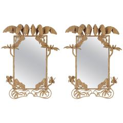 Pair of Mario Torres Mirrors with a Tropical Palm Motif