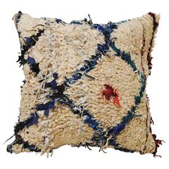 Custom Pillow Cut from a Vintage Moroccan Hand Loomed Wool Beni Ourain Rug