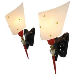 Pair of Pierre Guariche Mid-Century Modern French Wall Sconces