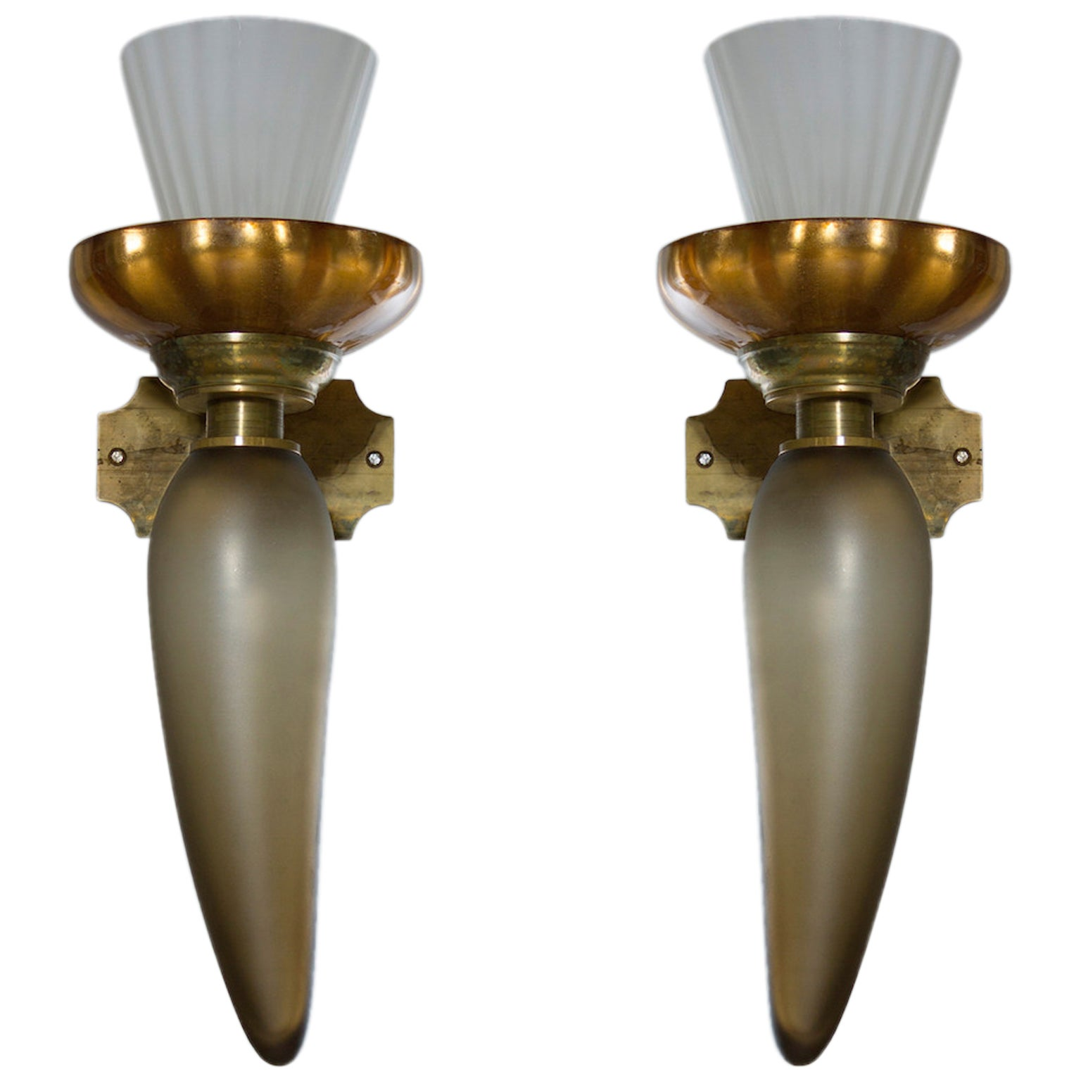 Italian Pair of Sconces in blown Murano Glass gree and gold 1950s