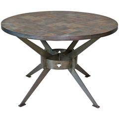 Large Brushed Steel Slate-Top Table, France, circa 1970s