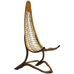 Unique Tall Oak and Rope American Studio Craft Chair, 1960s