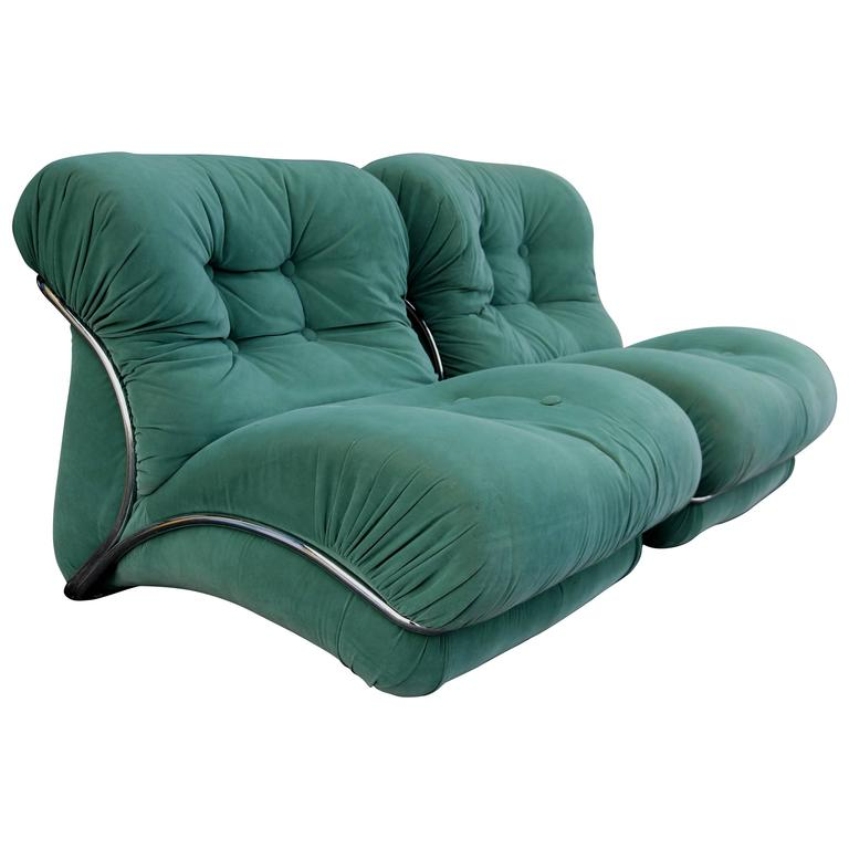 Pair Of Green Chrome Overstuffed Chairs After Tobia Scarpa
