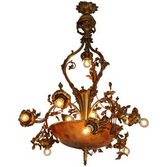 Fine Gilt Bronze and Alabaster Belle Époque Chandelier