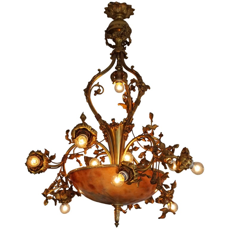 Fine Gilt Bronze and Alabaster Belle Époque Chandelier For Sale