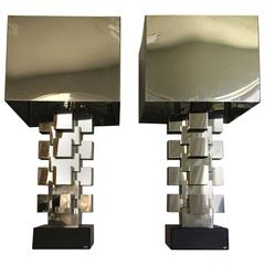 """Curtis Jere Chrome """"Skyscraper"""" Table Lamps, Pair"""