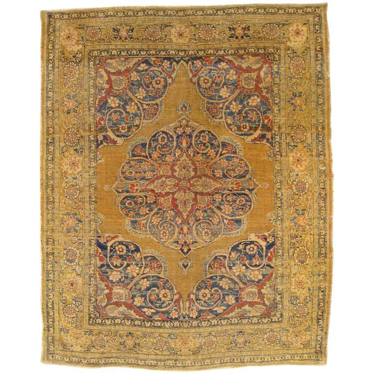 Antique Persian Tabriz Decorative Small Oriental Rug At