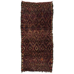 Berber Moroccan Runner with Tribal Style and Diamond Trellis Pattern