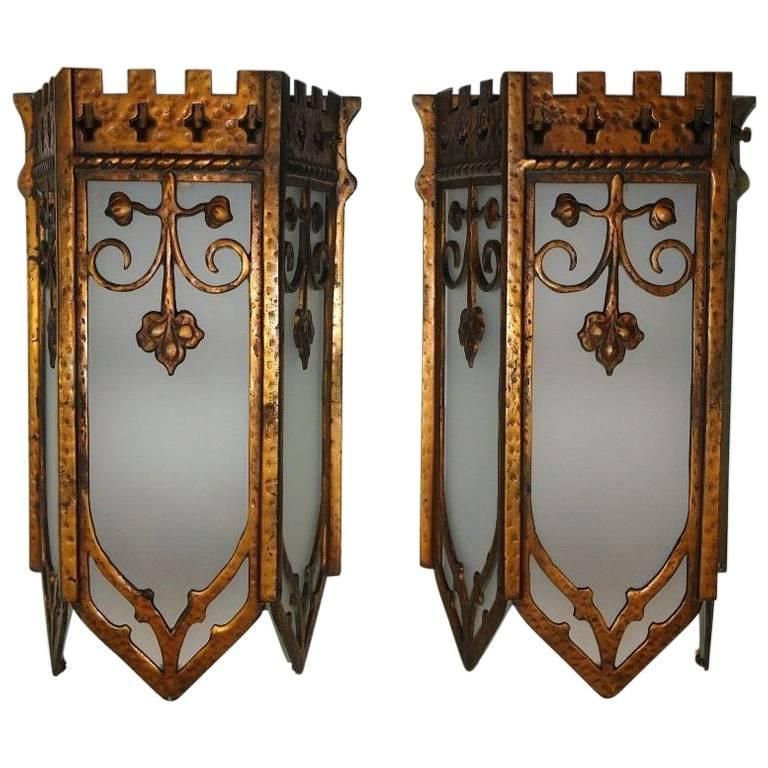 Gilt Metal  Lantern Sconces