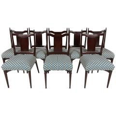 Eight Tommi Parzinger Style Dining Chairs, circa 1960s