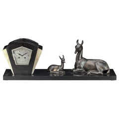 Irénée Rochard French Art Deco Large Mantle Clock with Deer, circa 1925