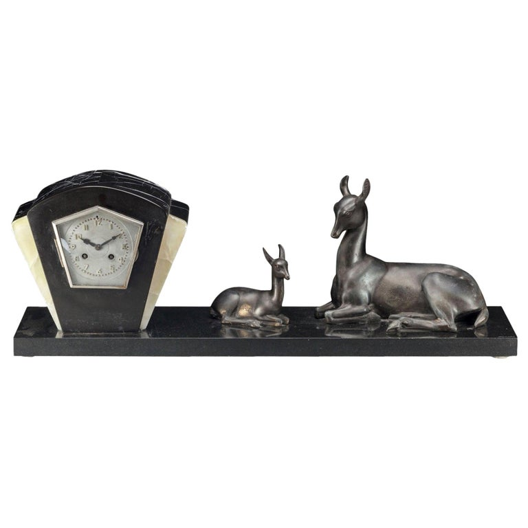 Irénée Rochard French Art Deco Large Mantle Clock with Deer, circa 1925 For Sale
