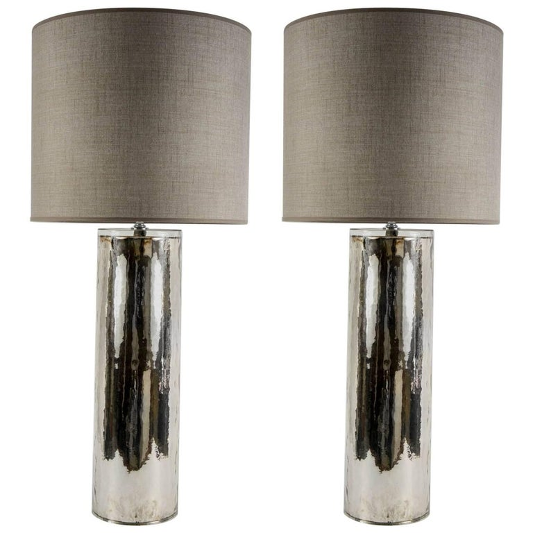 Beautiful Pair of Eglomized Glass Table Lamps For Sale