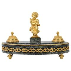 Gilded Bronze Desk Inkwell in Louis XVI Style