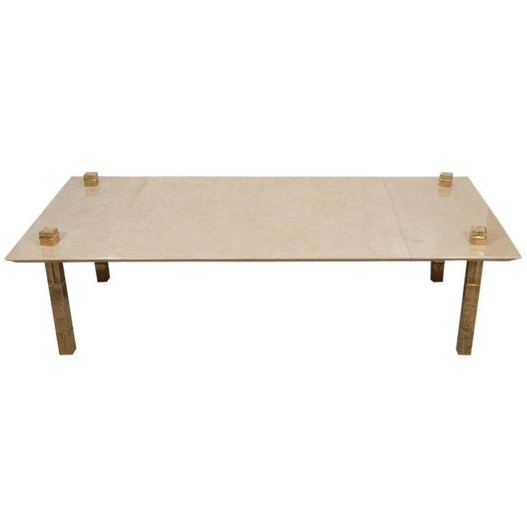 Artimeta Attributed Square Metal And Glass Coffee Table At: Maison Jansen Attributed Parchment Table, Gold Metal Legs
