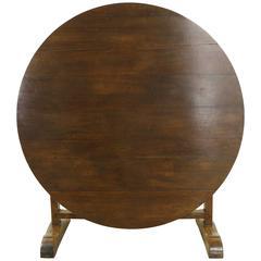 Large Round Antique Walnut Wine Table