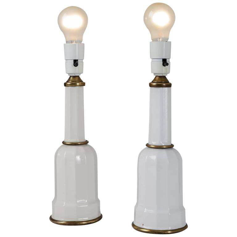 Pair of Porcelain and Brass Heiberg Table Lamps, Denmark, 1930s