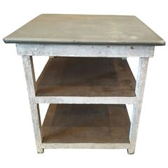 Vintage Metal Top Industrial Table