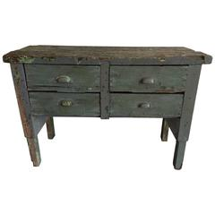 19th Century American Industrial Work Table with Drawer