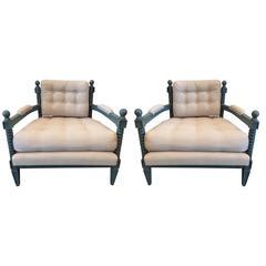 Pair of Midcentury Hollywood Regency Club Chairs