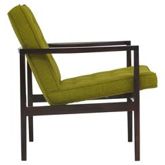 Forma Brazil Midcentury Rosewood Lounge Chair in Mustard Colored Wool Fabric
