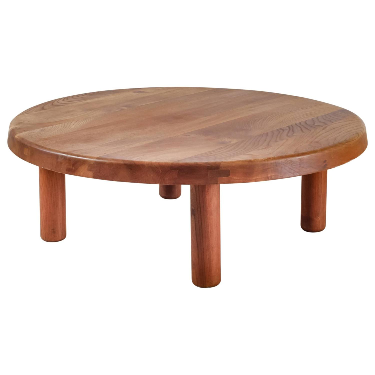 Rare pierre chapo large round campagne style elm coffee table france 1960s - Table style campagne ...