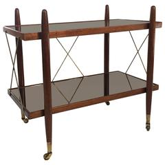 Mid-Century Wood Brass Mirror Bar Cart by FURNISH Inc.