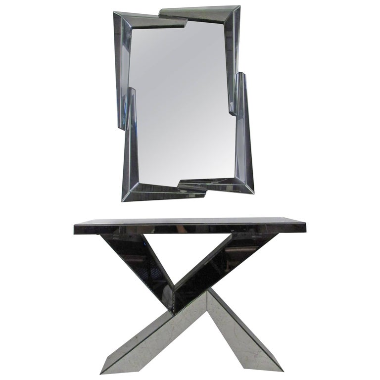 Mid-Century Modern Style Mirrored Console Table with Wall Mirror For Sale