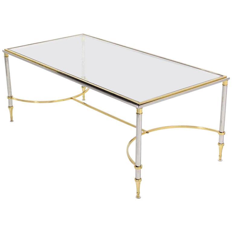 Brass Chrome Glass-Top Coffee Table U Shape Brass Stretchers