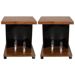 Streamline Pair of Art Deco Machine Age End Tables by the Modernage Company