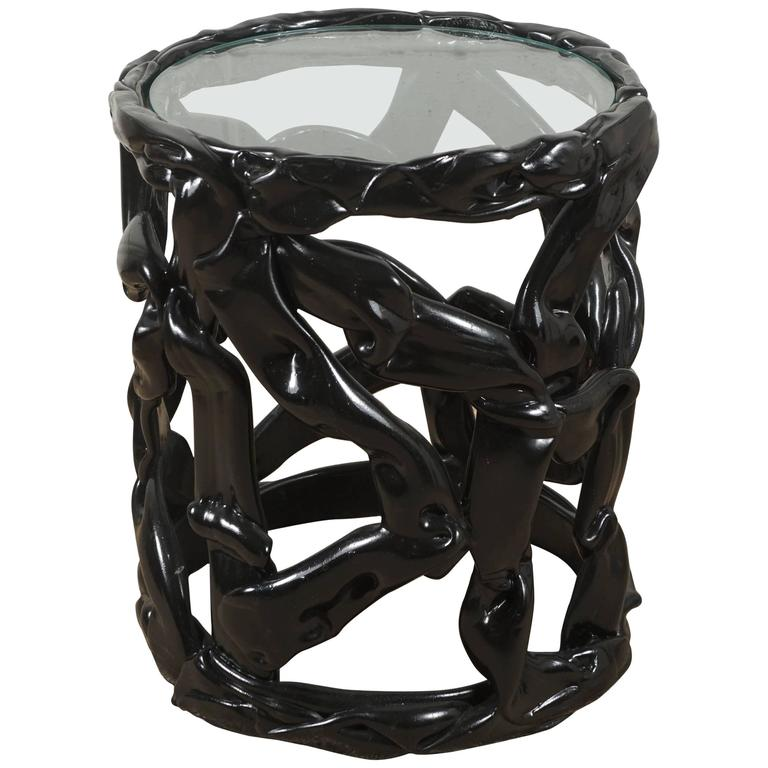 Black Ribbon Table in Lucite For Sale