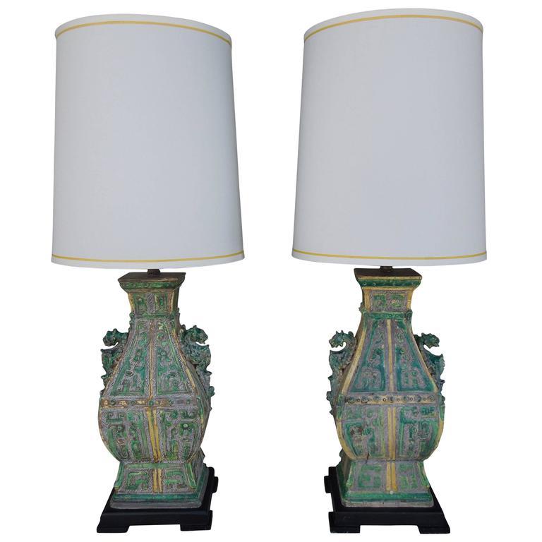 Pair of Spectacular Ceramic Vintage Chinoiserie Designer Lamps
