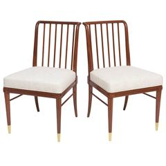 Polished Walnut and Silk Side Chairs by J. Stuart Clingman for Widdicomb