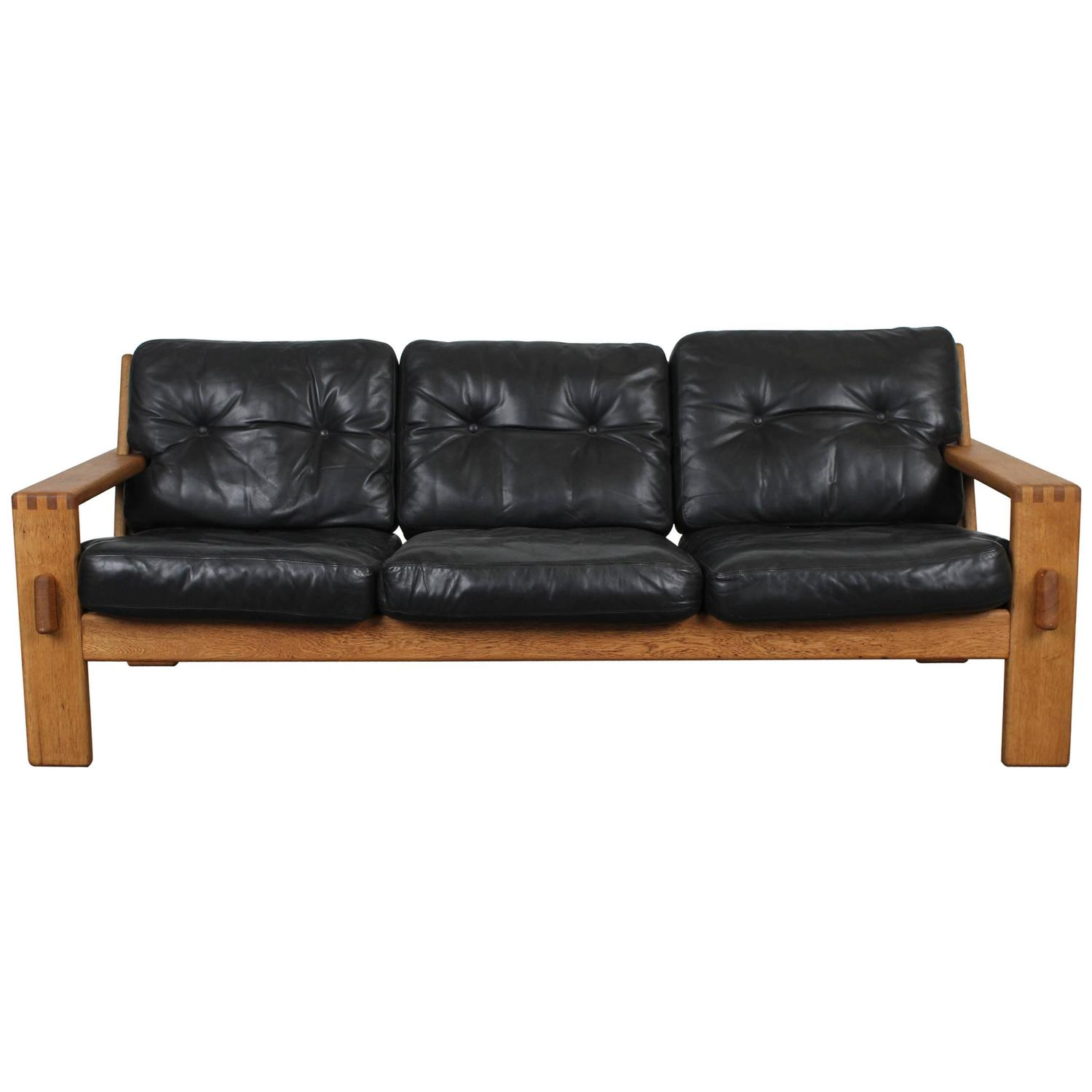 Danish Mid Century Modern Black Leather Oak Sofa by Esko Pajamies