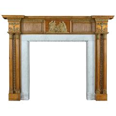 Large Antique Pine and Gesso Georgian Fireplace Mantel, circa 1770