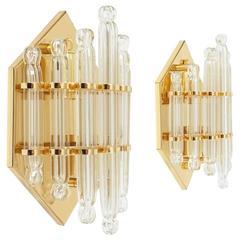 Pair of Glass Gilt Brass Wall Lights by Honsel, circa 1970