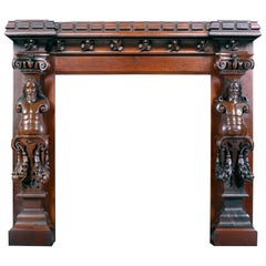 Castellated Jacobean Revival Style Antique Carved Oak Fireplace Mantel