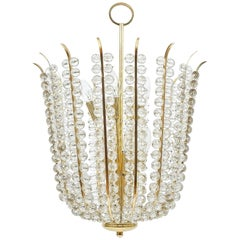 Majestic Basket Crystal and Brass Chandelier Bakalowits, circa 1950