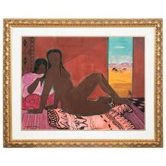 Naked Lady in a Madagascar Landscape by André Maire, Watercolor, 1959