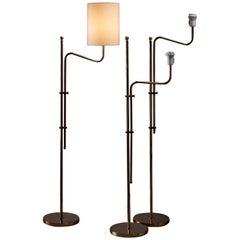 Set of Three Bergboms Brass Floor Lamps, Sweden, 1960s