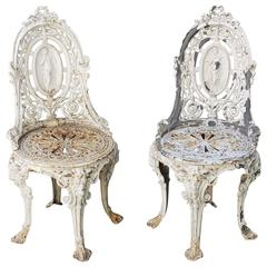 Pair of Early 20th C English Cast Iron Garden Chairs