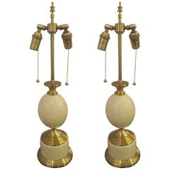 Pair of French 1970s Brass Enamelled Lamps
