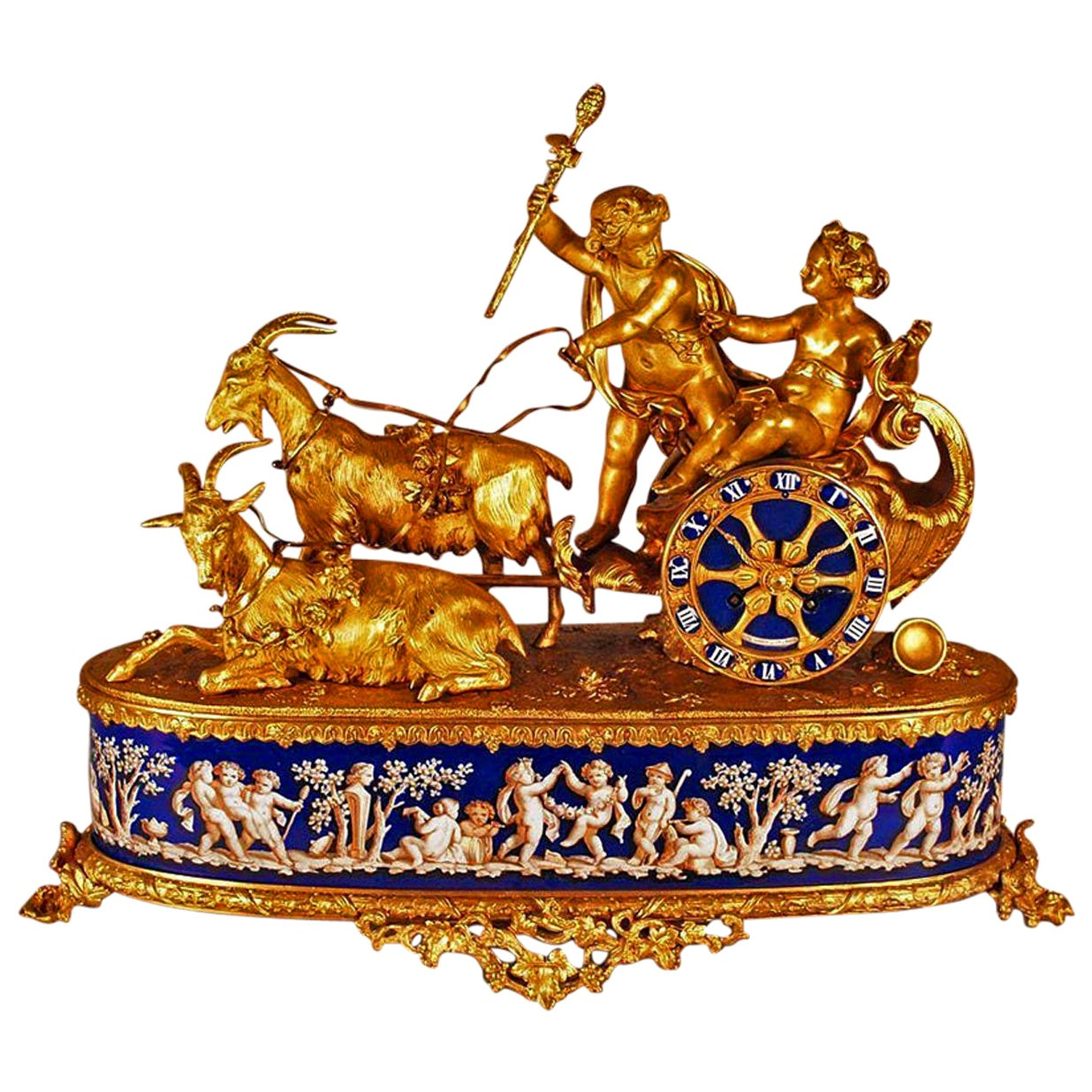 French Gilt Bronze Mantel Clock by Alphonse Alph Giroux, Signed, circa 1860