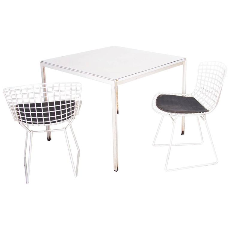 Florence Knoll Dining Table Plus Two Bertoia Side Chairs For Sale At - Bertoia coffee table